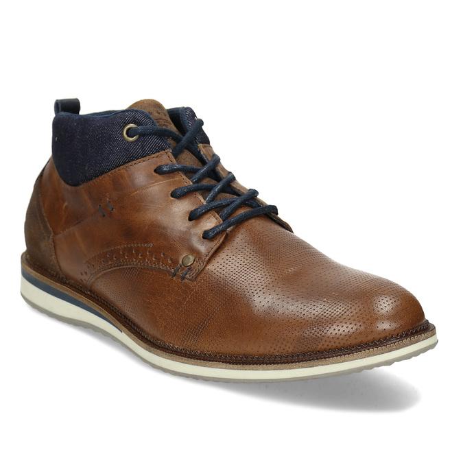 Hnědá kožená pánská kotníčková obuv bata, hnědá, 826-3603 - 13