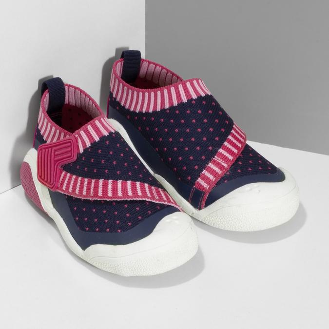 Modré dětské tenisky s růžovými detaily bubblegummers, modrá, 129-9604 - 26