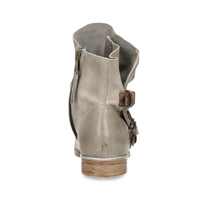 Hnědé dámské kožené kozačky s přezkami bata, šedá, 596-2602 - 15