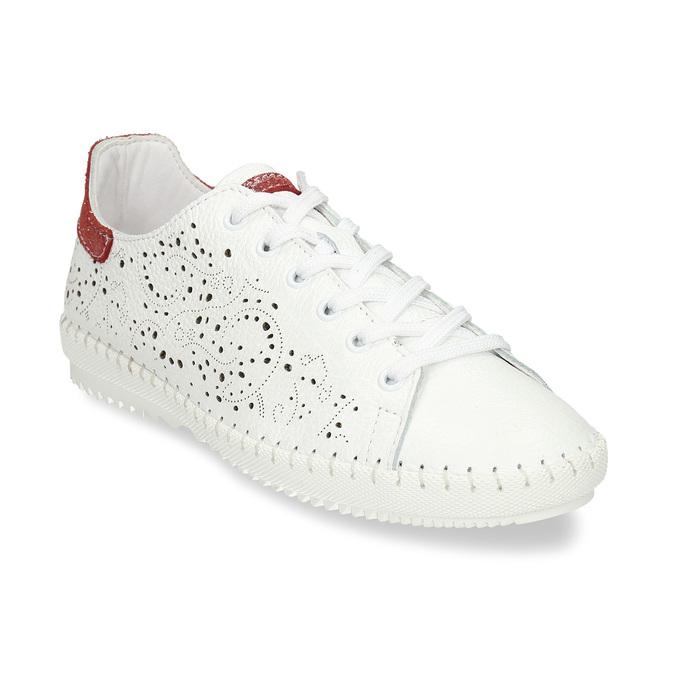 Dámská kožená bílá obuv s perforací bata, bílá, 524-1612 - 13