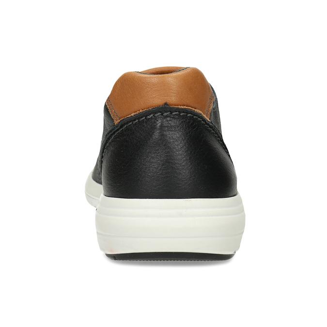Pánské kožené černé tenisky městského typu bata-light, černá, 844-6650 - 15