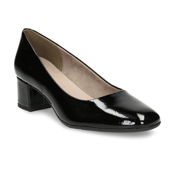 Černé lakované lodičky na stabilním podpatku bata, černá, 621-6614 - 13