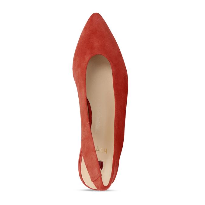 Kožené červené lodičky na nízkém podpatku s páskem hogl, červená, 563-5102 - 17