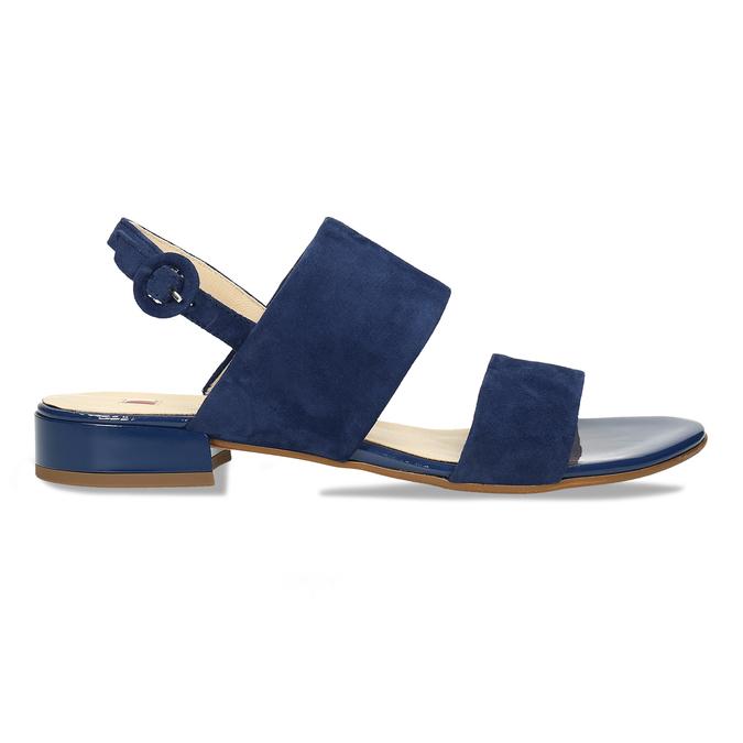Dámské kožené modré páskové sandály hogl, modrá, 563-9103 - 19