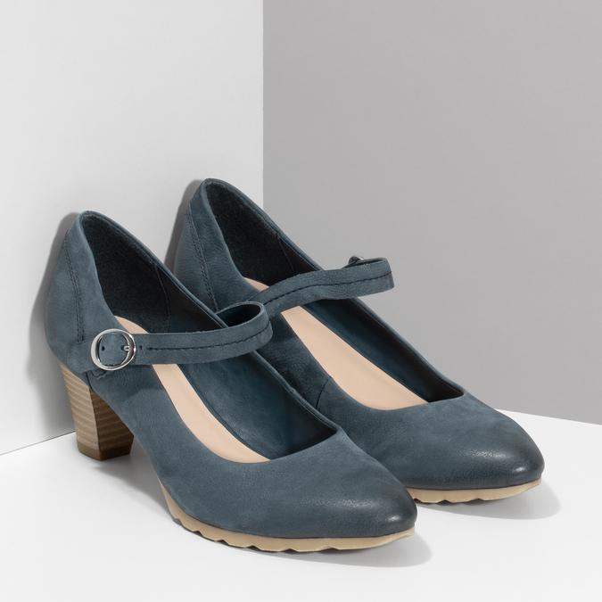 Dámské modré lodičky z broušené kůže bata, modrá, 626-9606 - 26