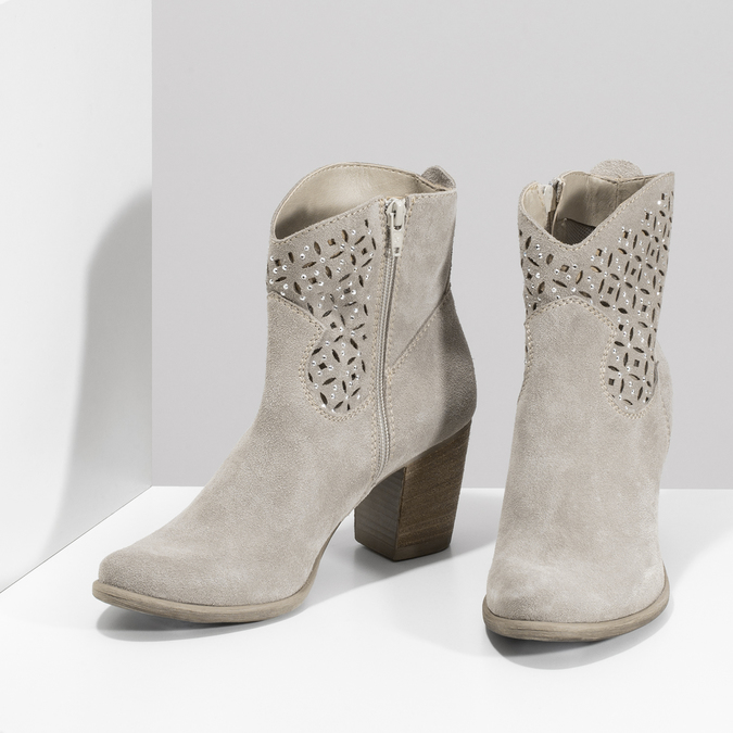 Béžové kotníčkové kozačky z broušené kůže bata, béžová, 693-8603 - 16