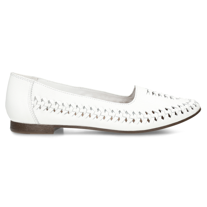 Bílé kožené dámské mokasíny s propletením bata, bílá, 524-1607 - 19
