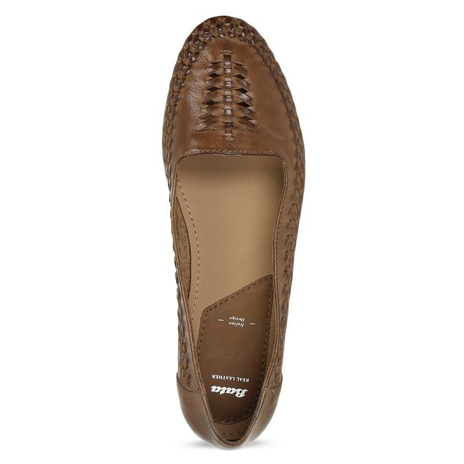 Dámské hnědé kožené mokasíny s propletením bata, hnědá, 524-4607 - 17