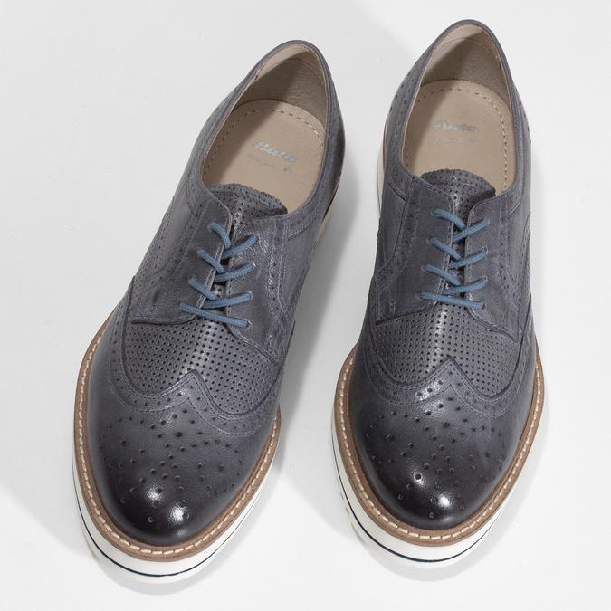 Dámské šedé kožené ležérní polobotky bata, šedá, 524-2601 - 16