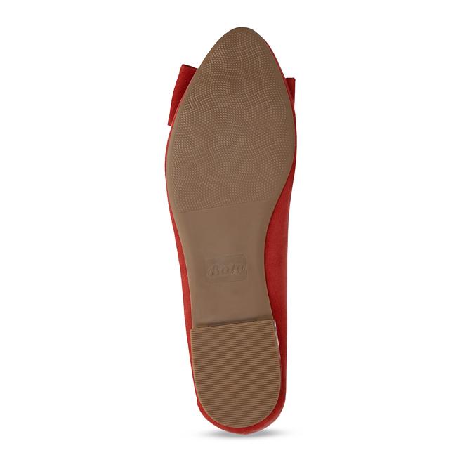 Dámské červené baleríny s mašlí bata, červená, 529-5602 - 18