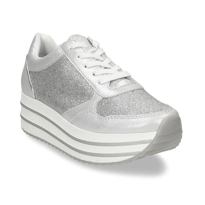Stříbrné dámské tenisky na flatformě bata-light, stříbrná, 541-1614 - 13