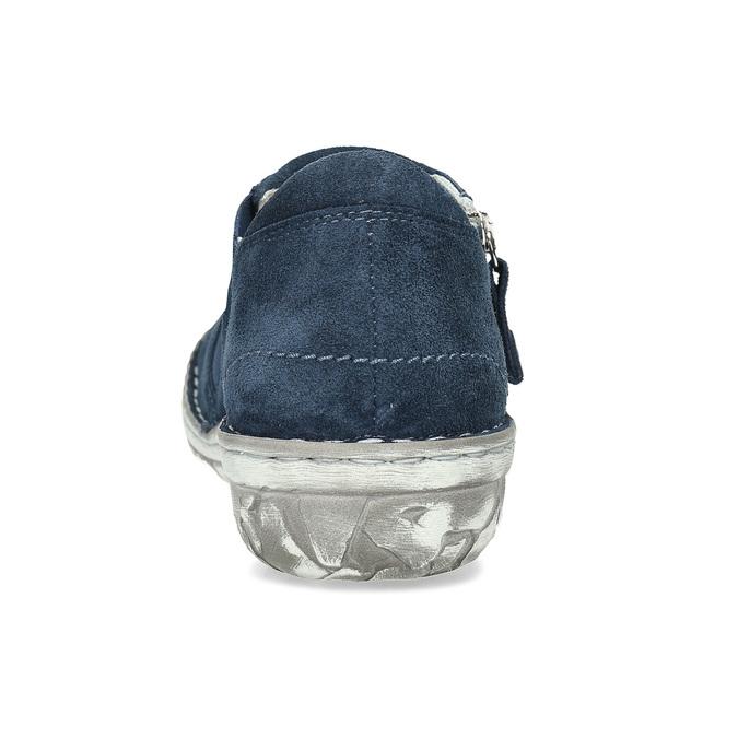 Dámské kožené slip-on tenisky se zipem bata, modrá, 523-9625 - 15