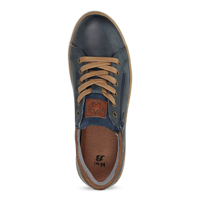 Kožené chlapecké tenisky na zip modré mini-b, modrá, 416-9601 - 17