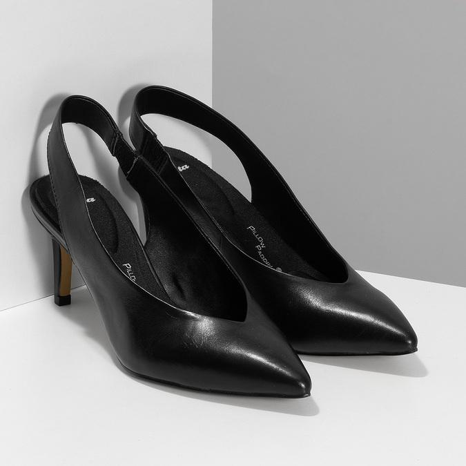 Černé kožené lodičky na jehlovém podpatku pillow-padding, černá, 624-6621 - 26