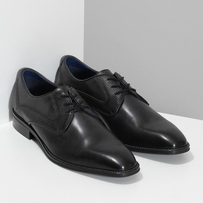 Černé pánské kožené Derby polobotky bata, černá, 824-6620 - 26