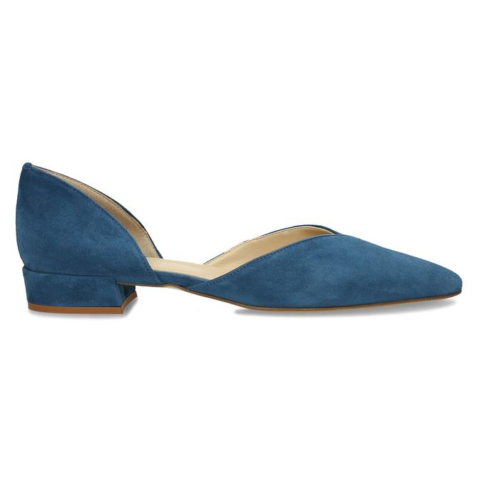 Kožené modré lodičky na nízkém podpatku bata, modrá, 523-9605 - 19