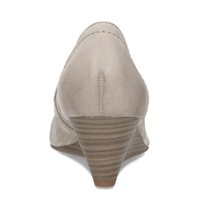 Dámské kožené béžové lodičky na klínku bata, šedá, 626-2602 - 15