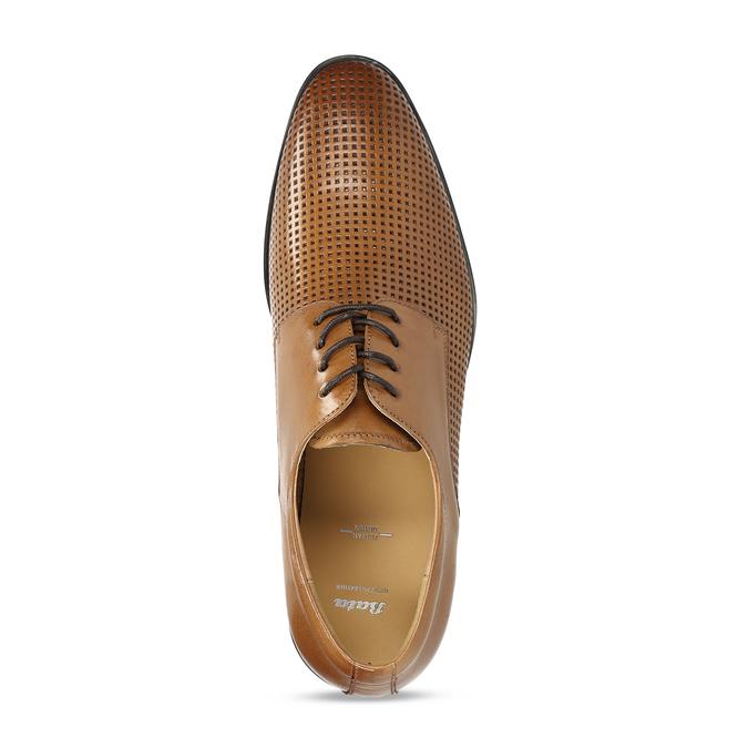 Elegantní kožené polobotky s perforací bata, hnědá, 826-3698 - 17