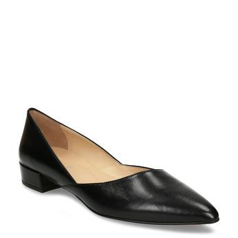Celokožené černé baleríny na nízkém podpatku bata, černá, 524-6623 - 13
