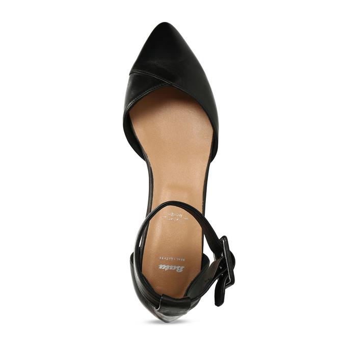 Černé kožené baleríny s páskem bata, černá, 524-6624 - 17