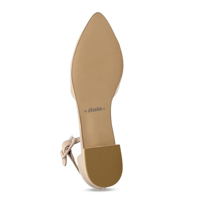 Béžové kožené baleríny s páskem bata, béžová, 524-8624 - 18