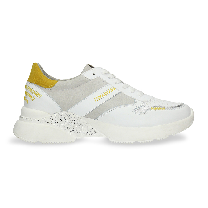 Bílé dámské tenisky s hořčicovými detaily bata, bílá, 546-1605 - 19