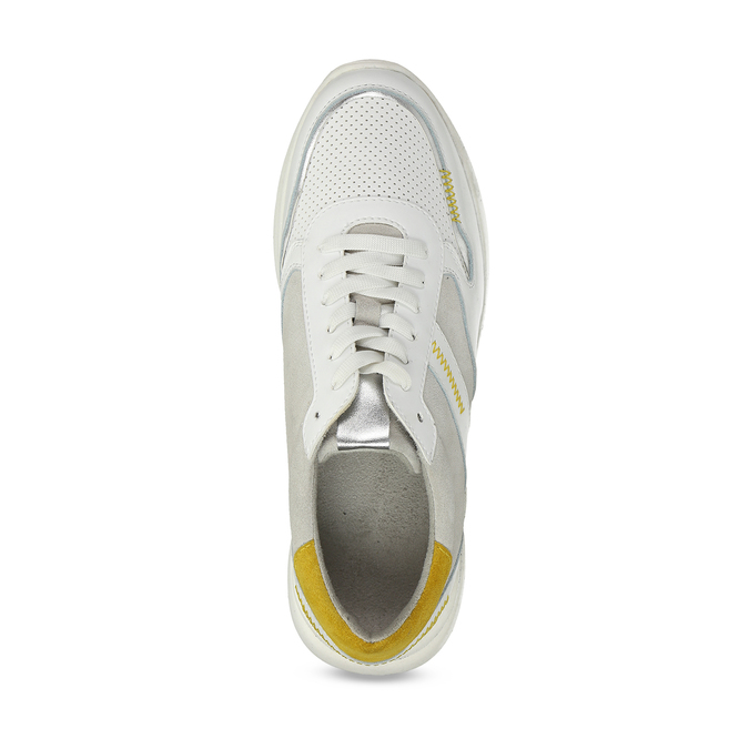 Bílé dámské tenisky s hořčicovými detaily bata, bílá, 546-1605 - 17