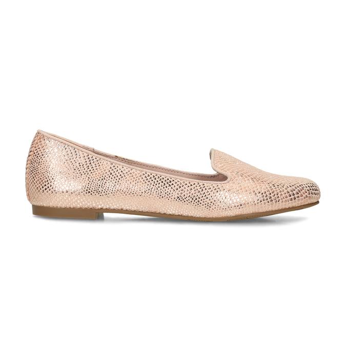 Metalické dámské Loafers mokasíny bata, růžová, 521-5620 - 19