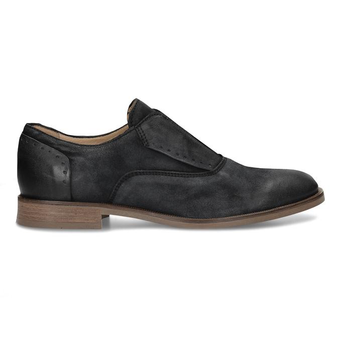 Černé pánské kožené polobotky bez šněrování bata, černá, 826-6602 - 19