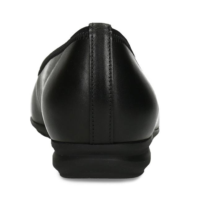 Kožené černé baleriny s lesklou kulatou špičkou gabor, černá, 524-6129 - 15