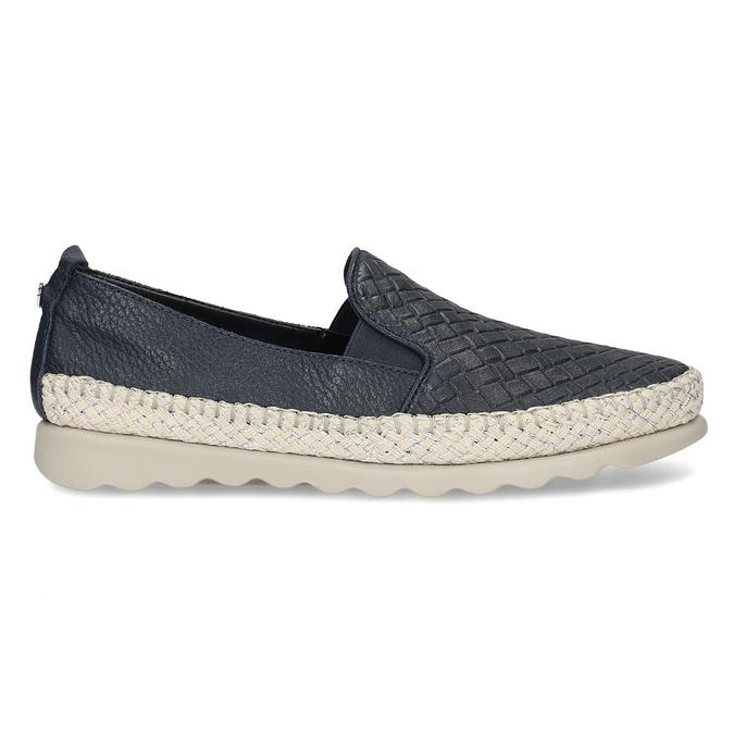 Tmavě modrá kožená dámská slip-on obuv comfit, modrá, 524-9604 - 19