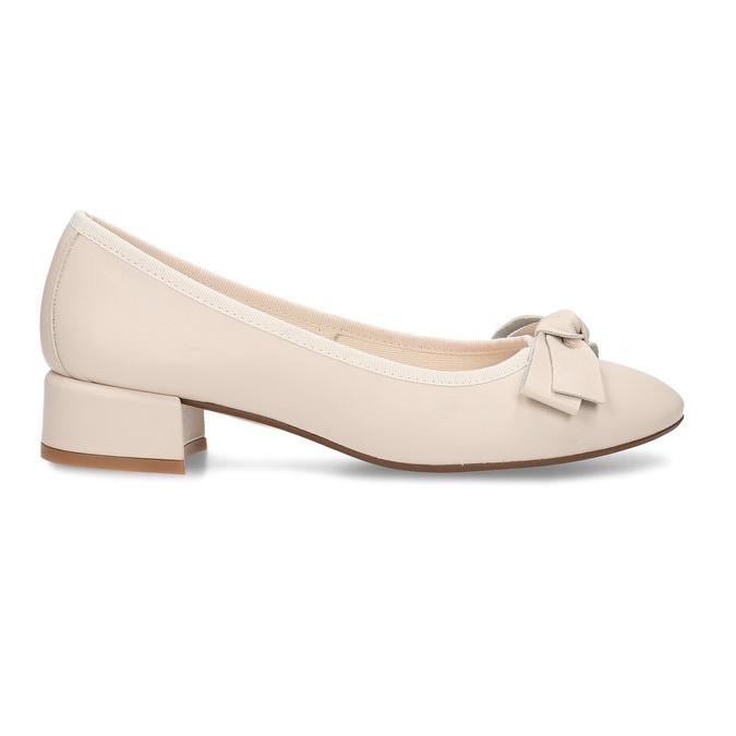 Béžové dámské kožené lodičky na nízkém podpatku bata, béžová, 524-8627 - 19