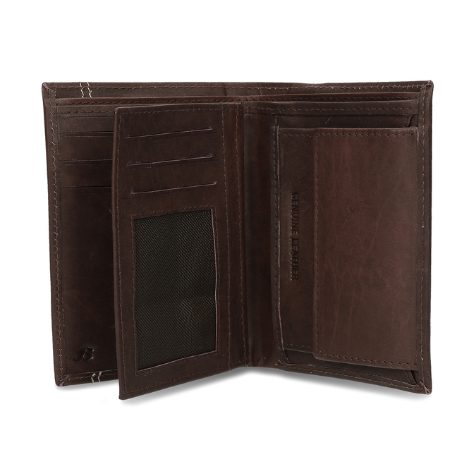 Tmavě hnědá pánská kožená peněženky bata, hnědá, 944-4639 - 15
