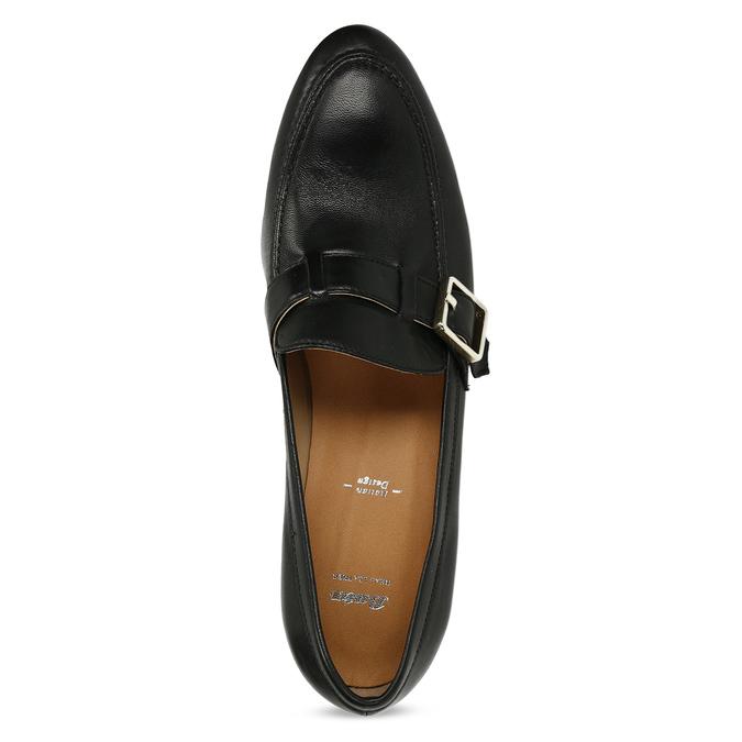 Černé kožené dámské mokasíny se sponou bata, černá, 514-6605 - 17