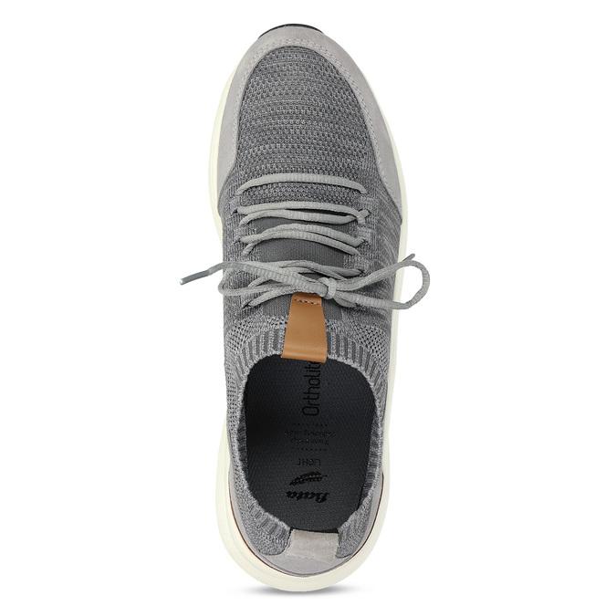 Pánské šedé tenisky z úpletu bata-light, šedá, 849-2637 - 17