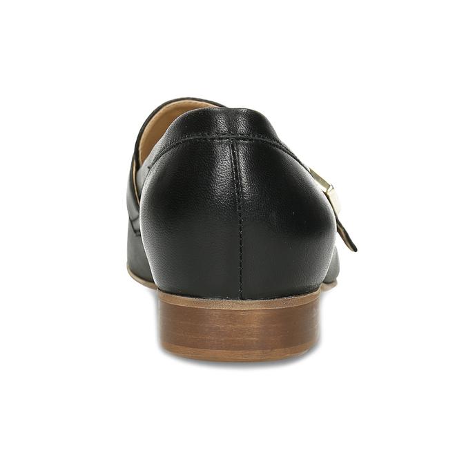 Černé kožené dámské mokasíny se sponou bata, černá, 514-6605 - 15
