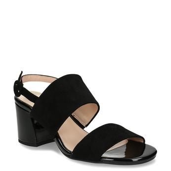 Černé dámské kožené sandály na stabilním podpatku hogl, černá, 663-6102 - 13
