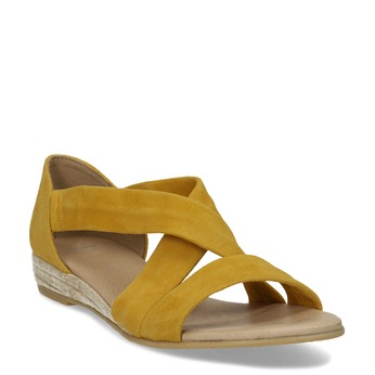 Kožené dámské sandály na klínku bata, žlutá, 563-8601 - 13