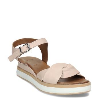 Dámské kožené sandály na silnější podešvi bata, růžová, 664-5602 - 13