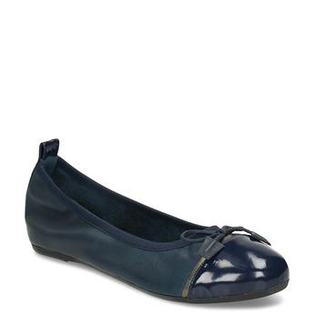 Modré dámské kožené baleríny s lakovanou špicí bata, modrá, 524-9625 - 13
