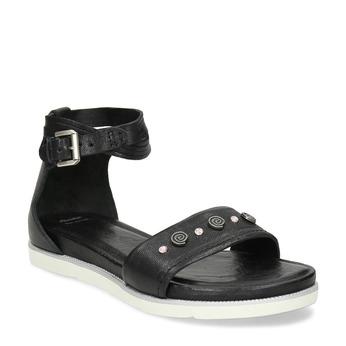 Černé dámské kožené sandály s kamínky bata, černá, 564-6614 - 13