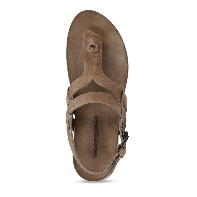 Hnědé dámské celokožené sandály weinbrenner, hnědá, 566-4616 - 17