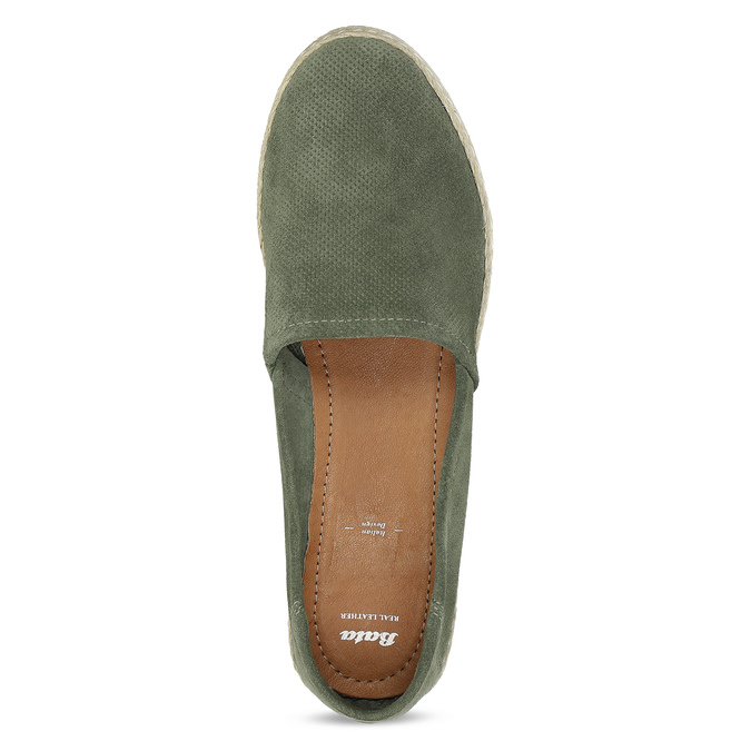 Dámské khaki espadrilky z broušené kůže bata, khaki, 533-3606 - 17