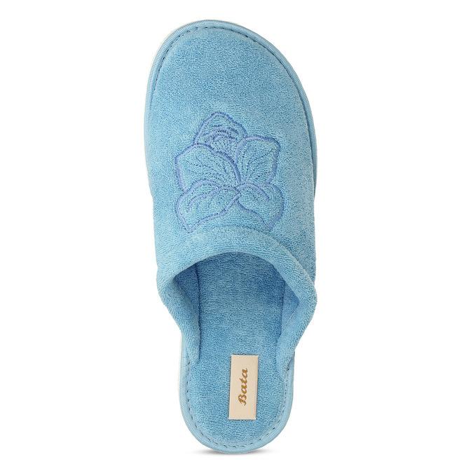 Modrá lehká dámská domácí obuv s výšivkou bata, modrá, 579-9600 - 17