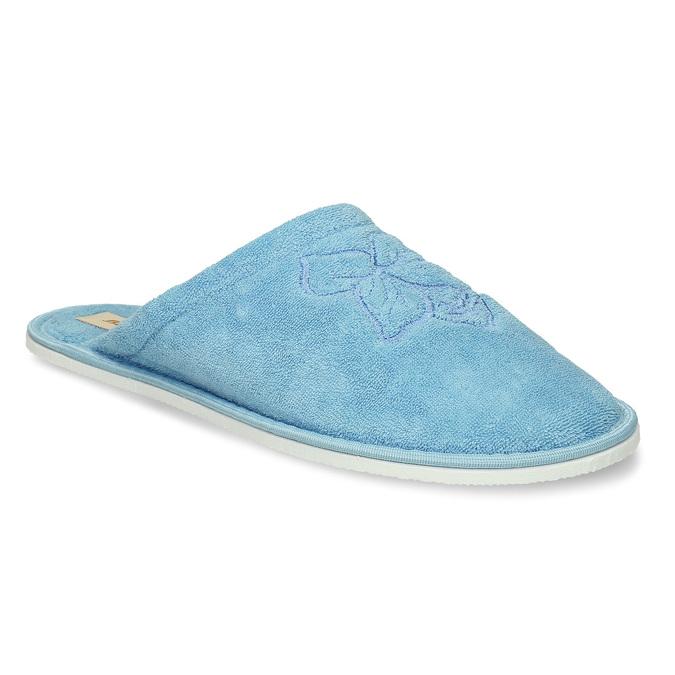Modrá lehká dámská domácí obuv s výšivkou bata, modrá, 579-9600 - 13