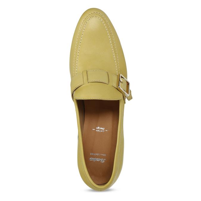 Kožené dámské mokasíny bata, žlutá, 514-8605 - 17