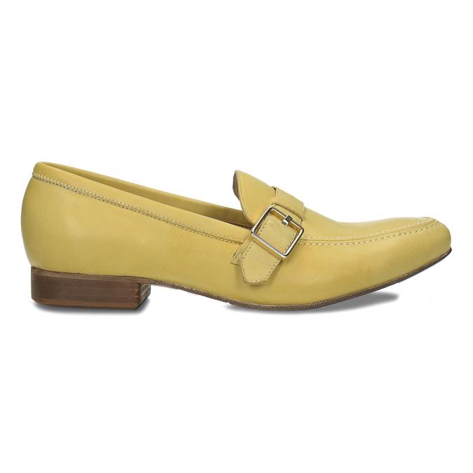 Kožené dámské mokasíny bata, žlutá, 514-8605 - 19