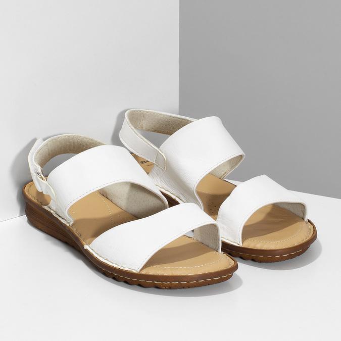 Bílé kožené dámské sandály s prošitím comfit, bílá, 564-1610 - 26