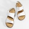 Bílé kožené dámské sandály s prošitím comfit, bílá, 564-1610 - 16