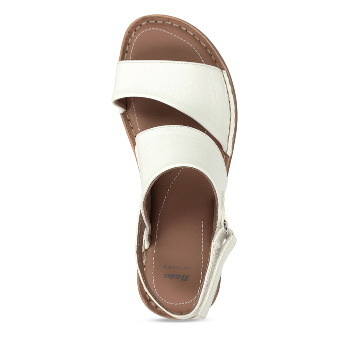 Bílé kožené dámské sandály s prošitím comfit, bílá, 564-1610 - 17